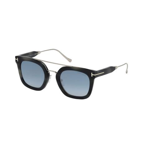 Men's Alex Sunglasses // Havana Black + Mirrored Blue