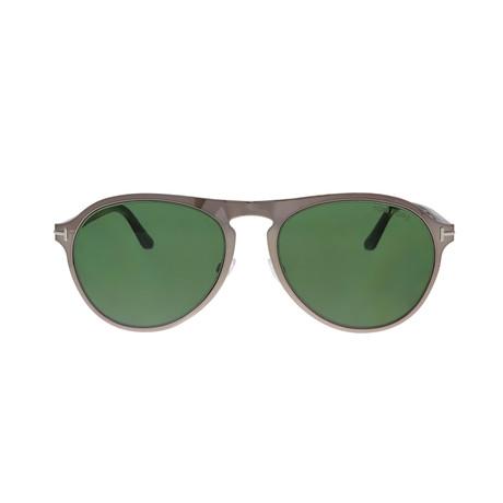 Men's Bradburry Sunglasses // Shiny Ruthenium + Green