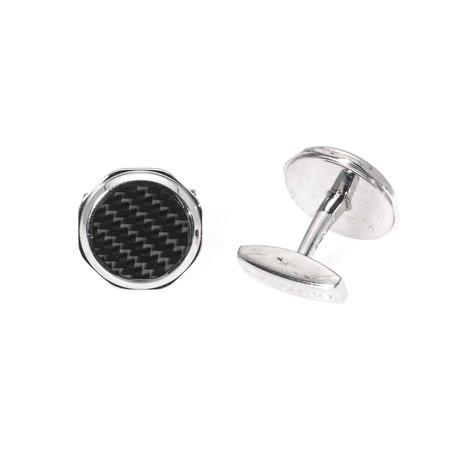 Bulgari Octo Sterling Silver + Carbon Fiber Cufflinks // GM856306