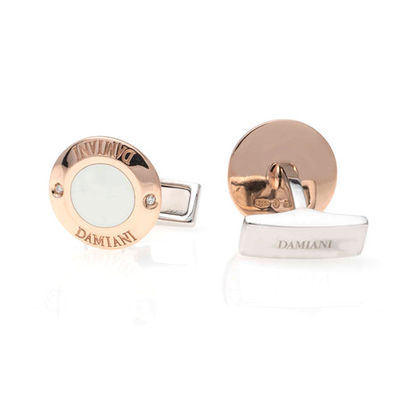 Damiani 18k Rose Gold + Stainless Steel Cufflinks // 20062812