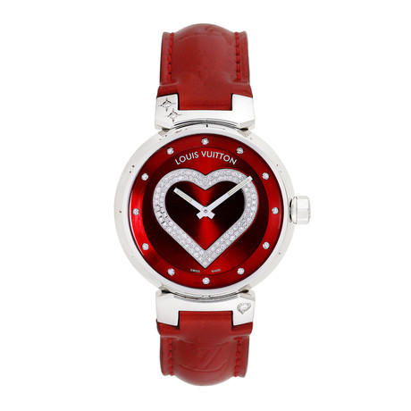 Louis Vuitton Ladies Tambour Diamond Heart Quartz // Q13140 // Pre-Owned