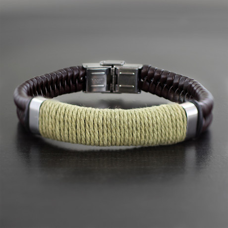 Wrapped Twine Center Braided Leather Bracelet // Brown