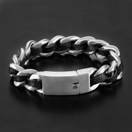 Leather Curb Chain Bracelet // Black