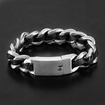 Leather Curb Chain Bracelet // Black