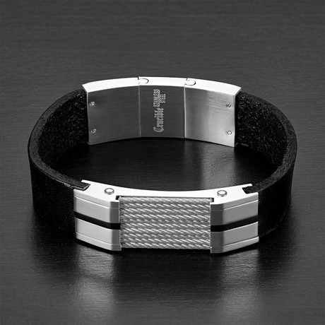 Cable Inlay ID Plate Leather Bracelet // Black + Silver