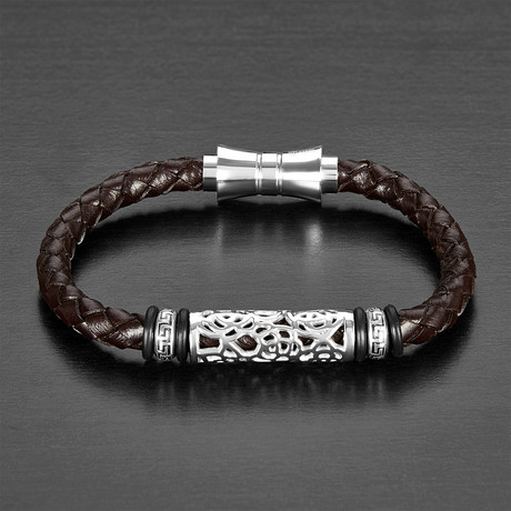 Textured Beaded ID Braided Leather Bracelet // Brown