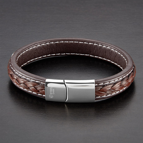 High Polish Double Layer Genuine Leather Bracelet // Brown