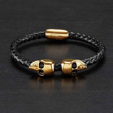 IP Skulls Braided Leather Bracelet // Black