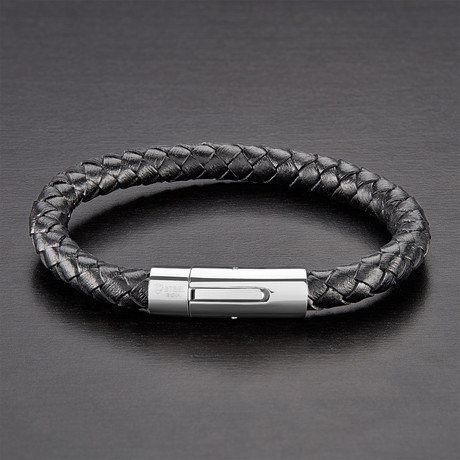 High Polish Braided Genuine Leather Bracelet // Black + White