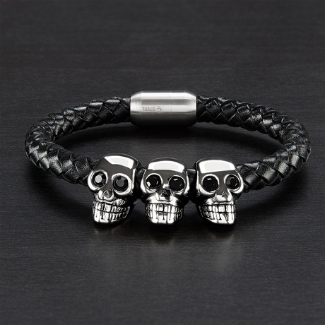 Triple Skull Braided Leather Bracelet // Black