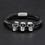 Triple Skull Braided Leather Bracelet // Black