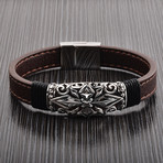 Antiqued Cross ID Leather Bracelet // Brown