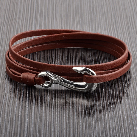 Leather Adjustable Wrap Bracelet // Brown