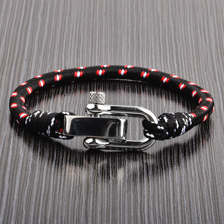 Screw Clasp Rope Bracelet // Black + Red + White + Silver
