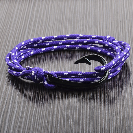 Adjustable Wrap Bracelet // Purple + Black + White