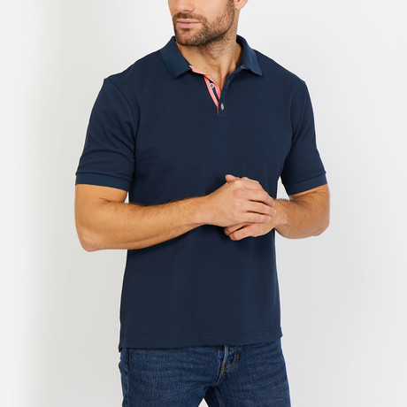 Austin Polo Button Up Shirt // Navy (Small)