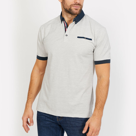 Easton Polo Button Up Shirt // Light Gray + Navy (Small)