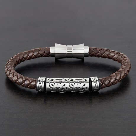 Textured Beaded ID Leather Bracelet // Brown + White