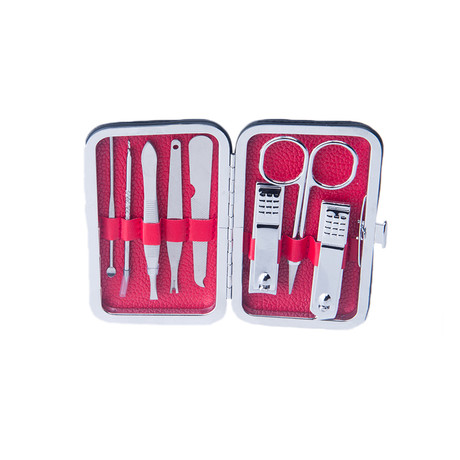 8-Piece Manicure + Pedicure Set // Silver Stainless Steel + Red