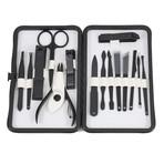 15-Piece Manicure + Pedicure Set // Black Gunmetal Chrome + Black Matte Leather Case