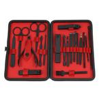 19-Piece Manicure + Pedicure Set // Black Gunmetal Chrome + Red Lining + Black Matte Leather Case