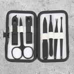 7-Piece Manicure + Pedicure Set // Black Gunmetal Chrome + White Leather Case