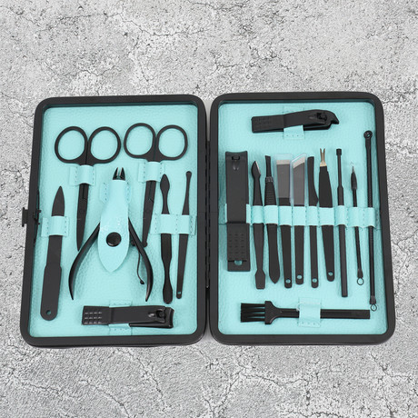 19-Piece Manicure + Pedicure Set // Black Gunmetal Chrome + Light Blue Lining + Black Matte Leather Case