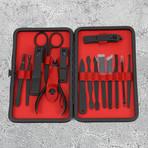 15-Piece Manicure + Pedicure Set // Black Gunmetal Chrome + Red Leather Case