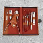 10-Piece Manicure + Pedicure Set // Stainless Steel + Orange Case