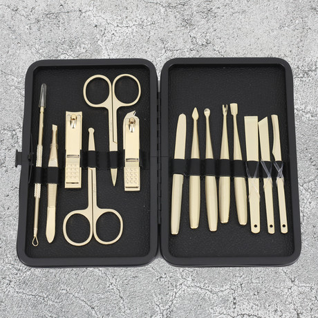 14-Piece Manicure + Pedicure Set // Gold Steel + Black Case