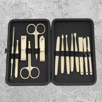 14-Piece Manicure + Pedicure Set // Gold Steel + Black Case