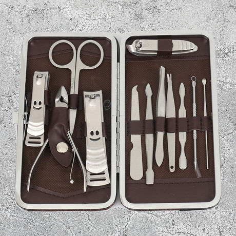 12-Piece Manicure + Pedicure Set // Stainless Steel + Brown Leather Case