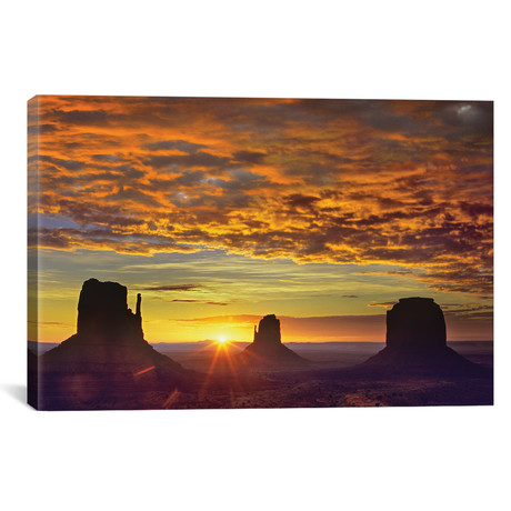 """The Mittens And Merrick Butte At Sunrise, Monument Valley, Arizona // Tim Fitzharris (12""""W x 18""""H x 0.75""""D)"""