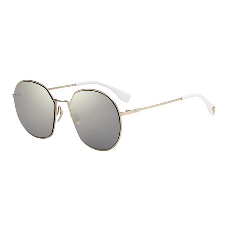 Fendi // Unisex Sunglasses // Gold + Gray Ivory Mirrored