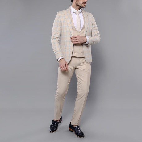Benjamin 3-Piece Slim Fit Suit // Beige (Euro: 42)
