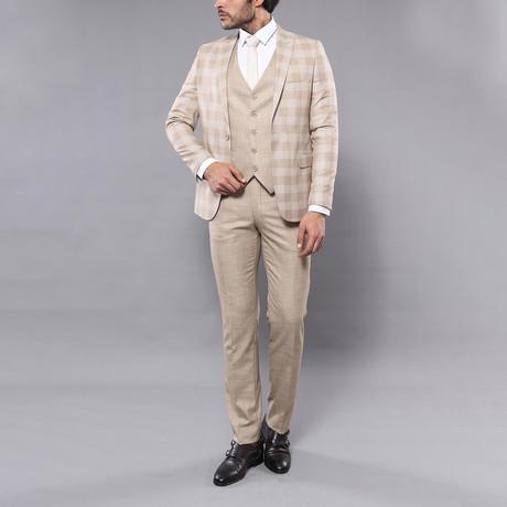 William 3-Piece Slim Fit Suit // Beige (Euro: 42)