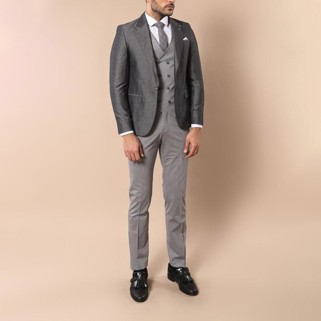Ryland 3-Piece Slim Fit Suit // Smoke (Euro: 42)