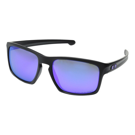 Unisex Silver Polarized Sunglasses // Matte Black + Violet