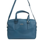 Versace Collection // Leather Brief Case // Blue