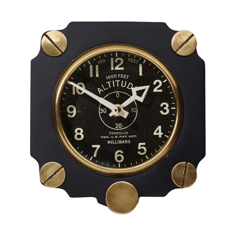 Altimeter Wall Clock Black