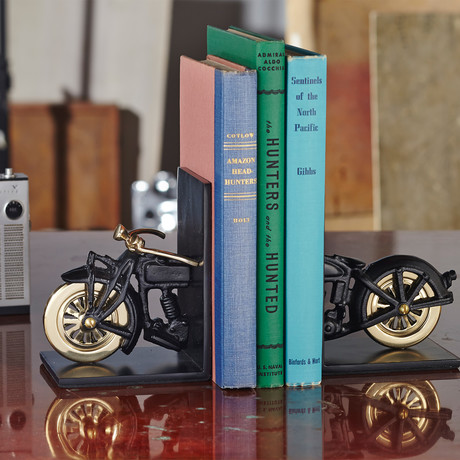Motorcycle Bookends // Black