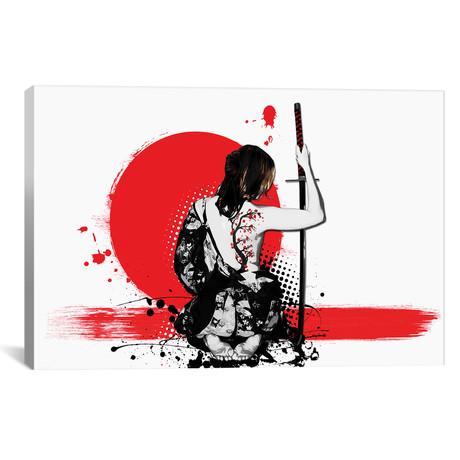 """Trash Polka - Female Samurai // Nicklas Gustafsson (18""""W x 12""""H x 0.75""""D)"""