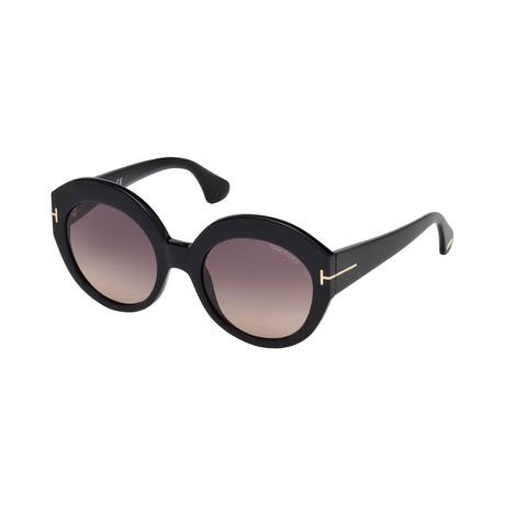 Women's Rachel Sunglasses // Shiny Black + Smoke Gradient