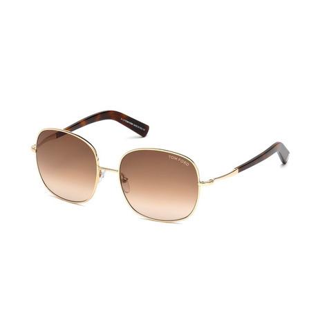 Women's Georgina Sunglasses // Shiny Rose Gold + Brown Gradient