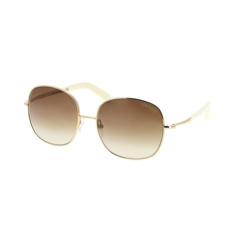 Women's Georgina Sunglasses // Shiny Rose Gold + Roviex Gradient