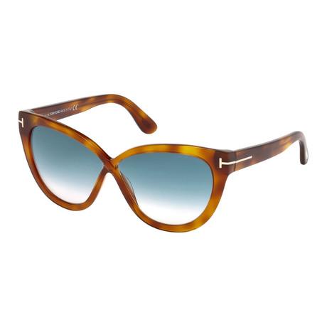 Women's Arabella Sunglasses // Havana + Blue Gradient
