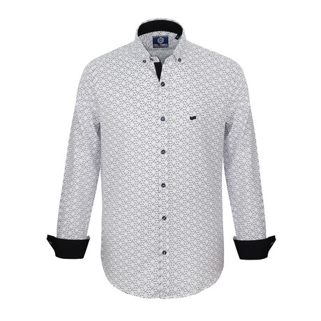Elijah Dress Shirt // White + Navy (S)