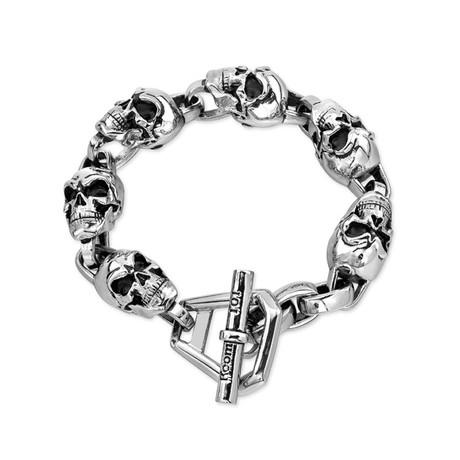 Skull Link Bracelet // Silver