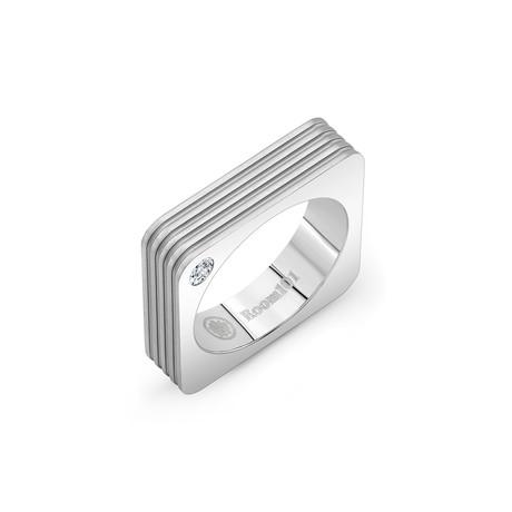 Striped Square Ring // Silver (6)