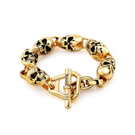 "Skull Link Bracelet // Gold Plated (8.5"")"